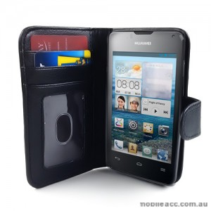 Synthetic Leather Wallet Case for Telstra Huawei Ascend Y300 - Black