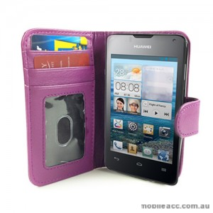Synthetic Leather Wallet Case for Telstra Huawei Ascend Y300 - Purple