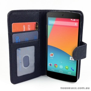 Synthetic Leather Wallet Case Cover for LG Google Nexus 5 - Black