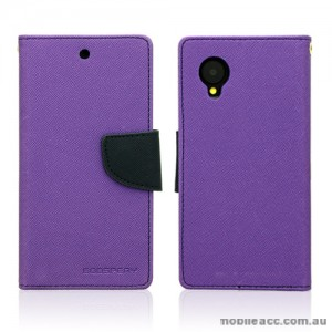 Mercury Goospery Fancy Diary Wallet Case Cover for LG Google Nexus 5 - Purple