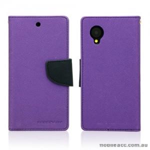 Mercury Goospery Fancy Diary Wallet Case Cover for LG Google Nexus 5 - Purple