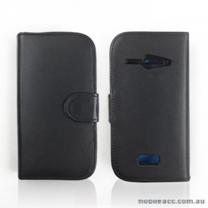Synthetic Leather Wallet Case for Telstra Dave T83 × 2- Black