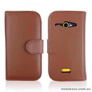 Synthetic Leather Wallet Case for Telstra Dave 4G T83 × 2- Brown