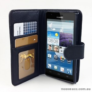 Synthetic Leather Wallet Case Cover for Huawei Ascend P2 - Black
