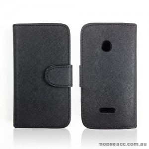Synthetic Leather Wallet Case for Huawei Ascend Y210 - Black