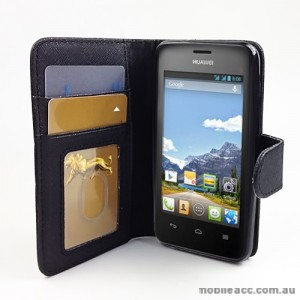 Synthetic Leather Wallet Case for Huawei Ascend Y320 - Black