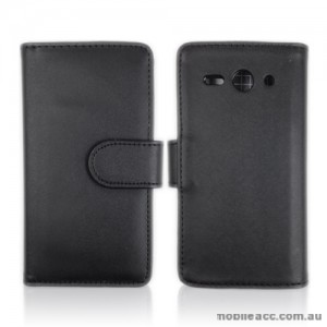Synthetic Leather Wallet Case Huawei Ascend Y530 - Black
