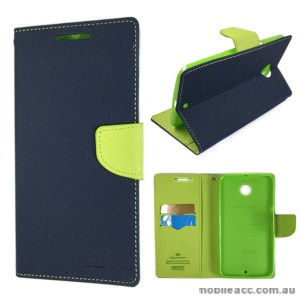 Korean Mercury Fancy Diary Wallet Case for Google Nexus 6 - Navy Blue