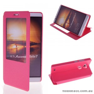 Huawei Ascend Mate 7 Window View Flip Cover - Hot Pink