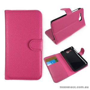 Litchi Skin Wallet Case Cover for Huawei Ascend Y600 - Hot Pink