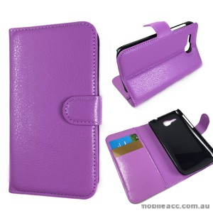 Litchi Skin Wallet Case Cover for Huawei Ascend Y600 - Purple