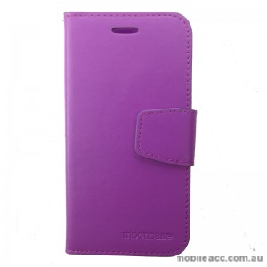 Synthetic Leather Wallet Case for Telstra Tough Max Purple