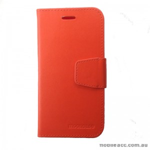 Synthetic Leather Wallet Case for Telstra Tough Max Orange