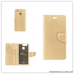 Mercury Goospery Bravo Diary Wallet Case For Huawei P9 Plus - Gold