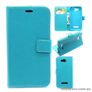 Wallet Case Cover for Alcatel C7 Blue