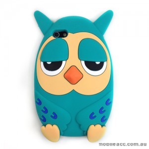 Owl 3D Silicone Case Cover for iPhone 5/5S/SE - Cyan