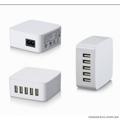 39W 5 USB Ports 5V 7.8A Charger Station - White