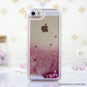 Romantic Glitter Quicksand Back Case for iPhone 4 / 4S - Hot Pink