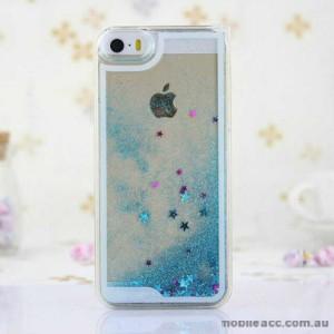 Romantic Glitter Stars Bling Quicksand Back Case Cover for iPhone 5/5S/SE - Blue