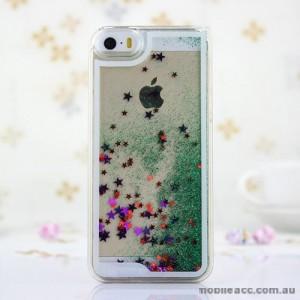 Romantic Glitter Stars Bling Quicksand Back Case Cover for iPhone 5/5S/SE - Green