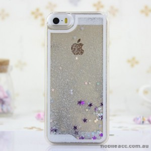 Romantic Glitter Stars Bling Quicksand Back Case Cover for iPhone 5/5S/SE - Silver