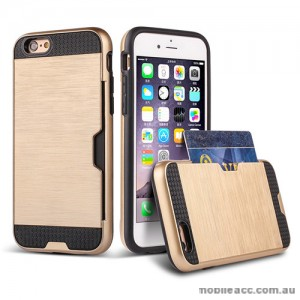 Rugged Shockproof Tough Back Case With Side Card Slot For iPhone 6/6s - Gold