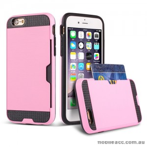 Rugged Shockproof Tough Back Case With Side Card Slot For iPhone 6/6s - Light Pink