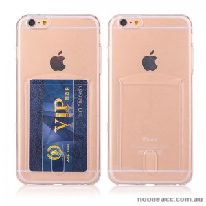 TPU Gel Jelly Back Case With Card Slot For iPhone 6 Plus - Clear