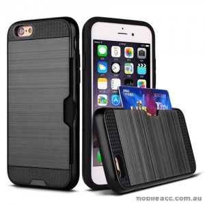 Rugged Shockproof Tough Back Case With Side Card Slot For iPhone 6/6s Plus - Black