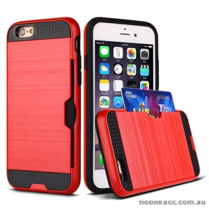 Rugged Shockproof Tough Back Case With Side Card Slot For iPhone 6/6s Plus - Red