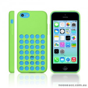 Premium Soft Silicone DOT Hole Case Cover For Apple iPhone 5C - Green