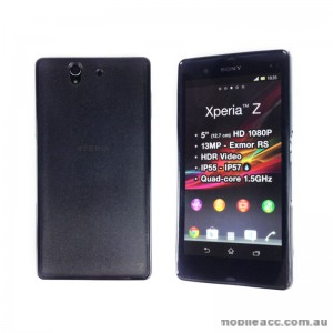 TPU Round and PC Back Case for Sony Xperia Z - Black