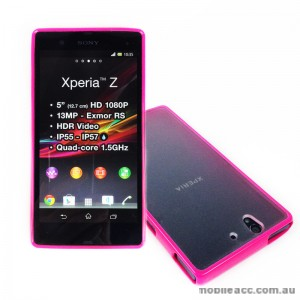 TPU Round and PC Back Case for Sony Xperia Z - Hot Pink