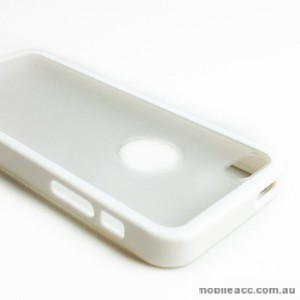 TPU   PC Back Case with Window for iPhone 5/5S/SE - White