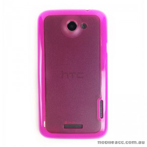 TPU   PC Back Case for HTC One X - Hot Pink