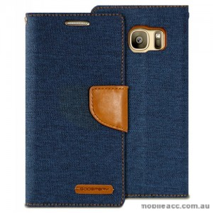 Korean Mercury Canvas Diary Wallet Case For Samsung Galaxy S7 - Navy