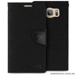 Korean Mercury Canvas Diary Wallet Case For Samsung Galaxy S7 Edge - Black
