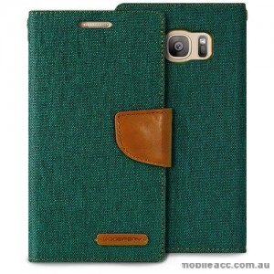 Korean Mercury Canvas Diary Wallet Case For Samsung Galaxy S7 Edge - Green