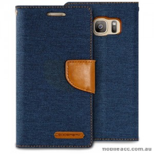 Korean Mercury Canvas Diary Wallet Case For Samsung Galaxy S7 Edge - Navy