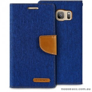 Korean Mercury Canvas Diary Wallet Case For Samsung Galaxy S7 Edge - Royal Blue