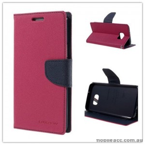 Korean Mercury Fancy Diary Wallet Case For Samsung Galaxy S7 Edge - Hot Pink