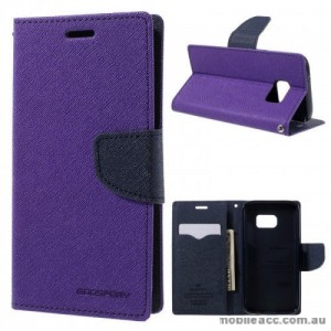 Korean Mercury Fancy Diary Wallet Case For Samsung Galaxy S7 Edge - Purple