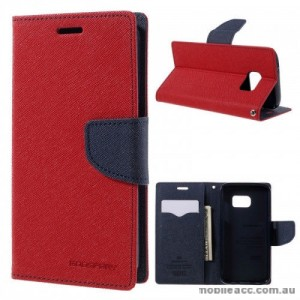 Korean Mercury Fancy Diary Wallet Case For Samsung Galaxy S7 Edge - RED