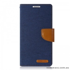 Korean Mercury Canvas Diary Wallet Case For Samsung Galaxy Note 7 - Navy