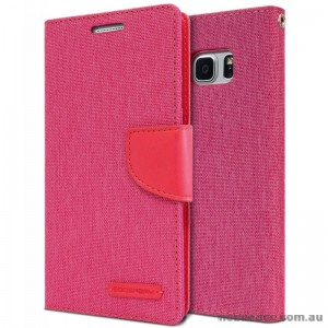Korean Mercury Canvas Diary Wallet Case For Samsung Galaxy Note 7 -  Hot Pink