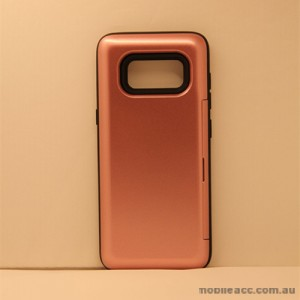 Slide Bumper Stand Case With Card Holder For Samsung Galaxy S8 - Rose Gold