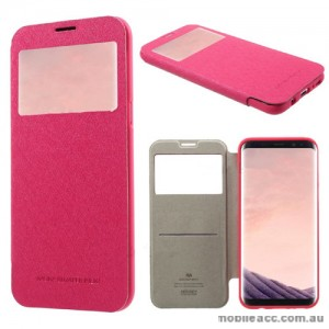 Korean Mercury WOW Window View Flip Cover For Samsung Galaxy S8 Plus - Hot Pink