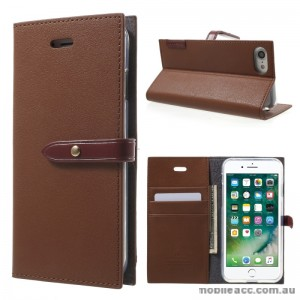 Mercury Goospery Romance Diary Wallet Case Cover For iPhone 7 - Brown