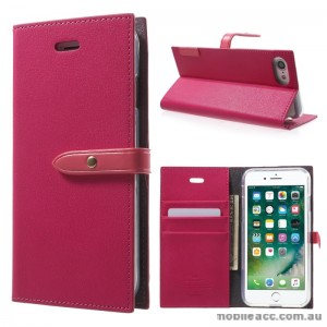 Mercury Goospery Romance Diary Wallet Case Cover For iPhone 7 - Hot Pink