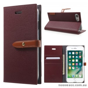 Mercury Goospery Romance Diary Wallet Case Cover For iPhone 7 - Ruby Wine
